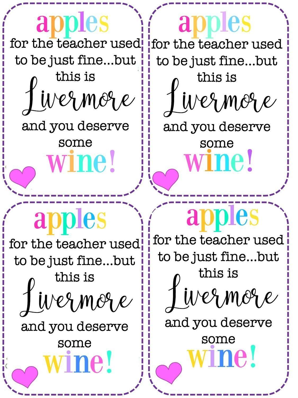 Teacher appreciation: giving wine | Teacher apple, Teacher ...