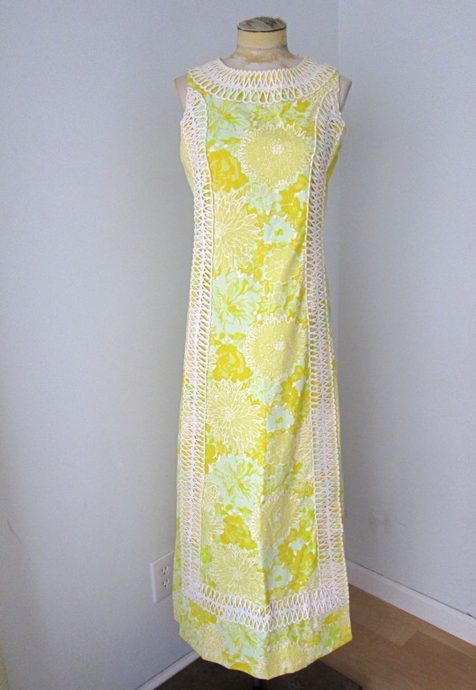 50ee116b319 Vtg 60s mod Lilly Pulitzer maxi dress bright yellow daisy wide cutwork lace  S  LillyPulitzer  Maxi  Casual