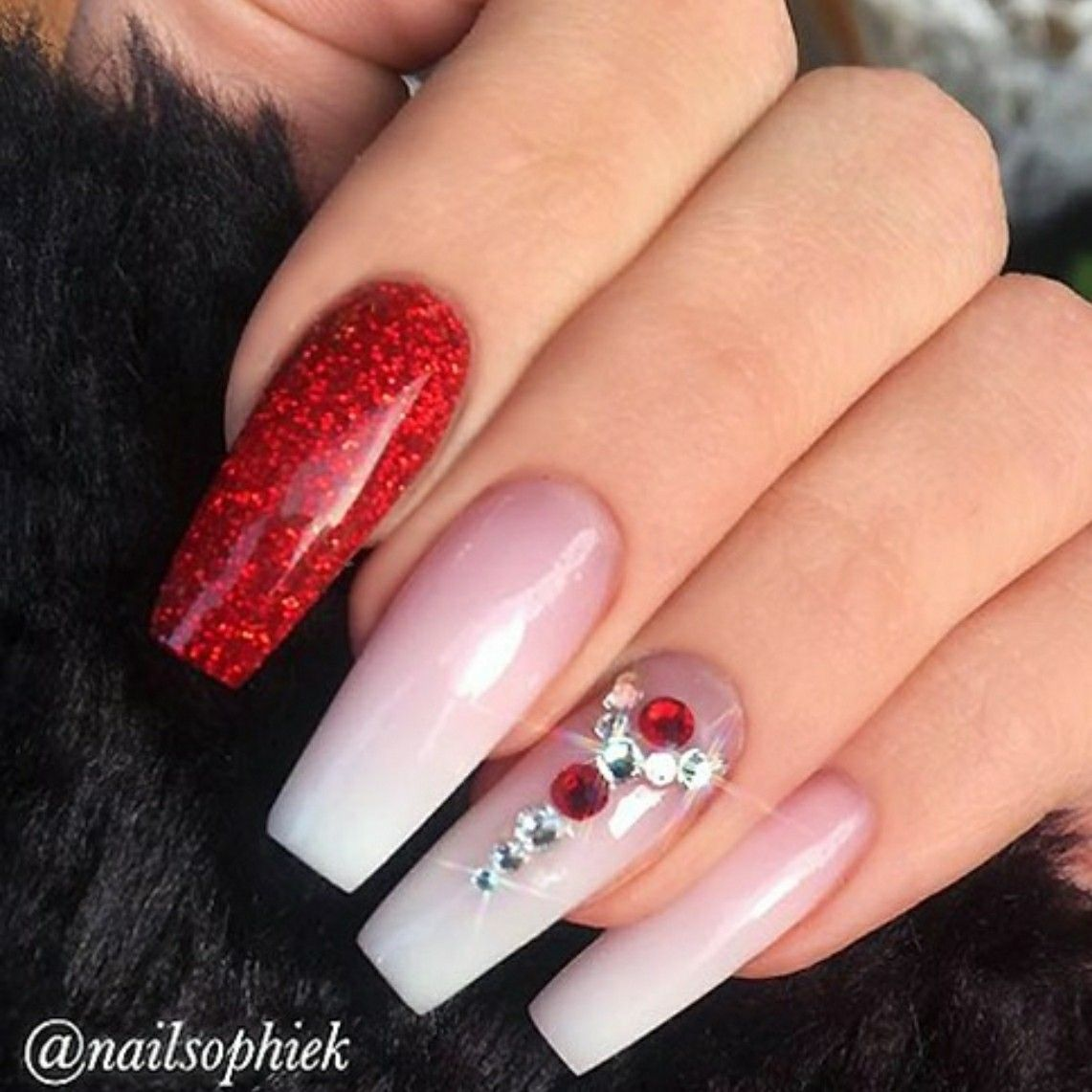 Tapered Square Nails. Christmas Nails. Red Glitter Nails
