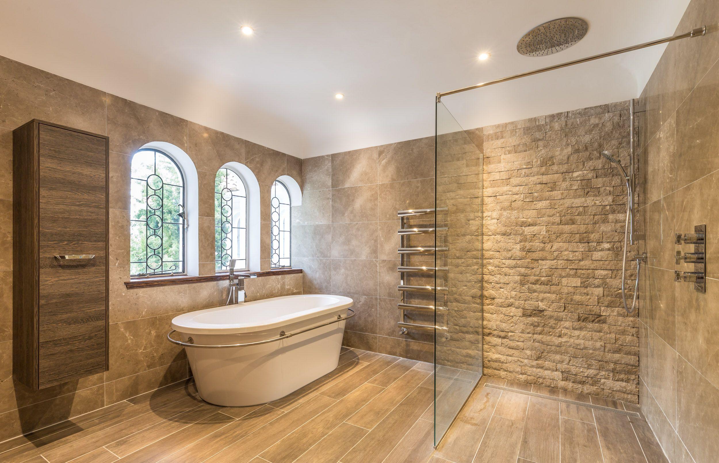 Large Contemporary Bathroom Modern Finish Rustic Stone Tile Cladding Rainmaker Shower Head Walk In Shower Modern Room Tile Walk In Shower Shower Tile