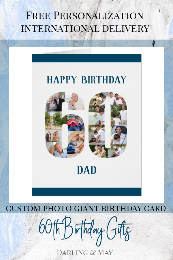 Happy 60th Birthday Dad Number 60 Photo Collage Card Zazzle Com 60th Birthday Cards Dad Birthday Happy 60th Birthday