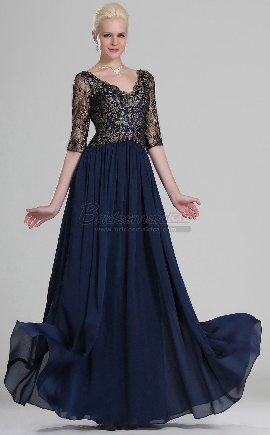 Long v neck lace ink blue vintage bridesmaid dress with half sleeve