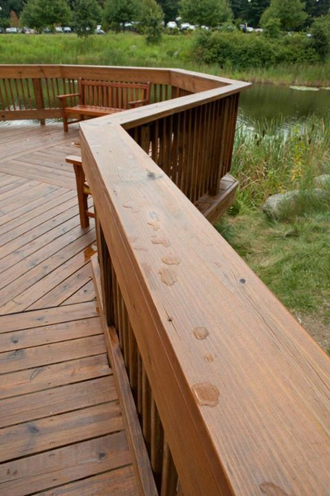 Pressure Treated Deck Rail Refinished And Sealed With Sikkens Srd Natural 078 Staining Deck Deck Stain Colors Backyard Paradise