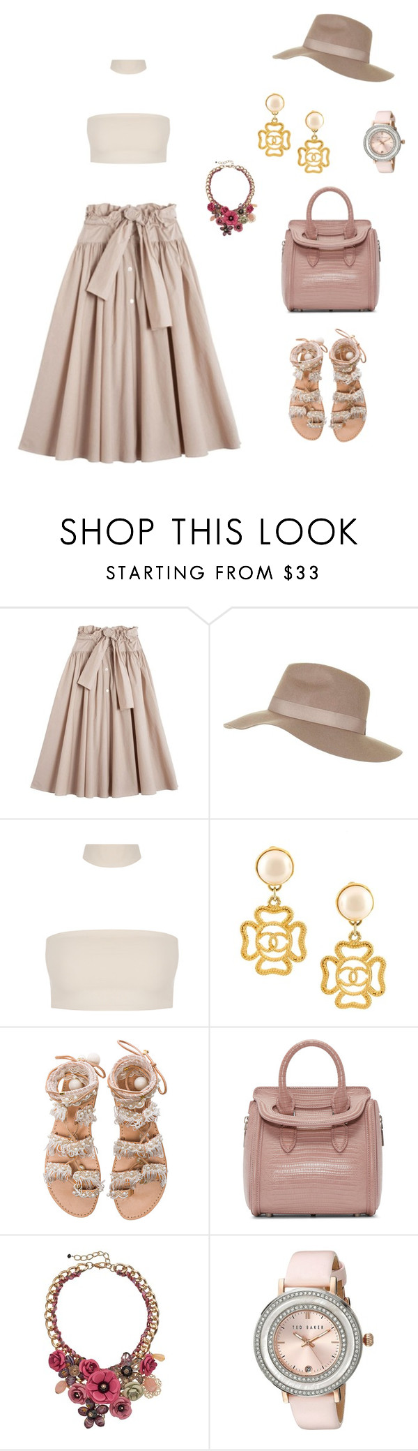 """""""Untitled #1696"""" by bushphawan ❤ liked on Polyvore featuring Maryam Nassir Zadeh, Topshop, Chanel, Elina Linardaki, Alexander McQueen, Loli Bijoux and Ted Baker"""