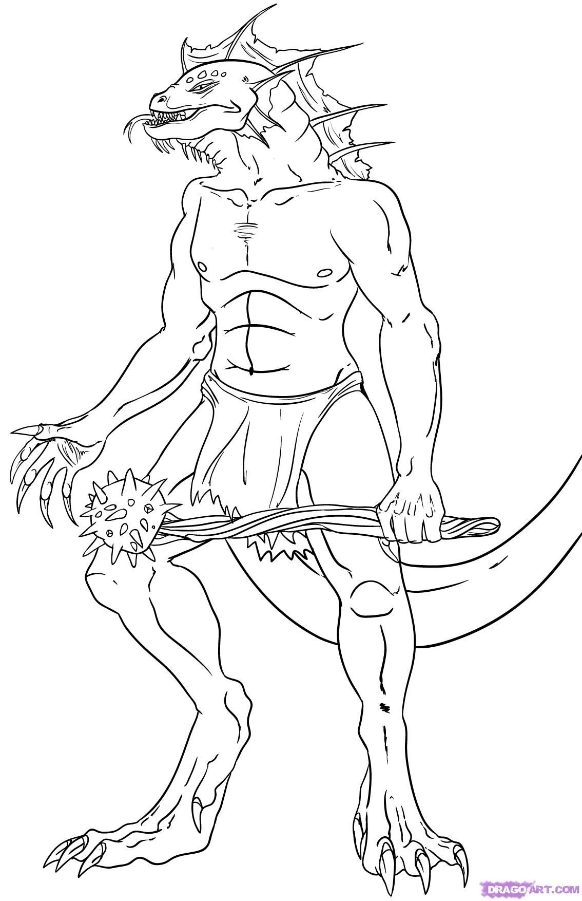 How To Draw Lizardmen Step By Greek Mythology Mythical Beasts