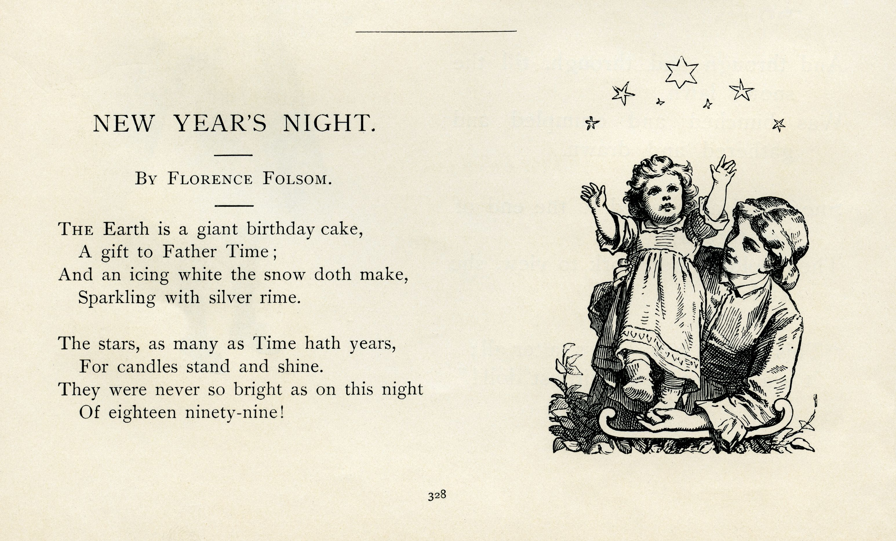 New Years Night, Florence Folsom poetry, vintage new year poem ...