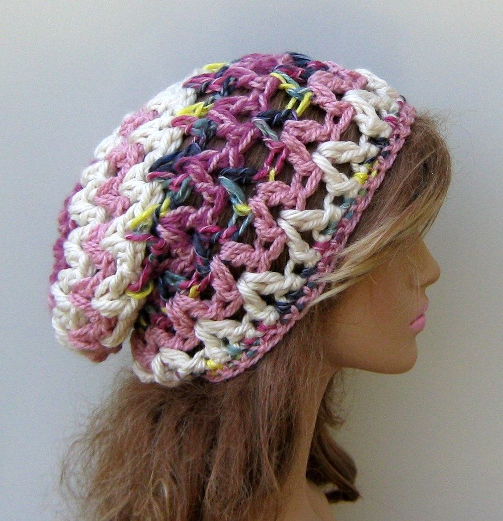 Thick slouchy beanie BoHo Hippie Hat bohemian crochet rose cream ...