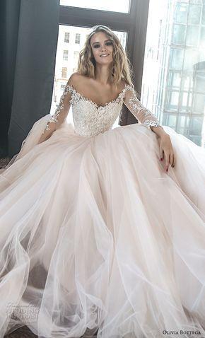 olivia bottega 2018 bridal long sleeves off the shoulder sweetheart neckline heavily embellished bodice princess romantic blush ball gown wedding dress