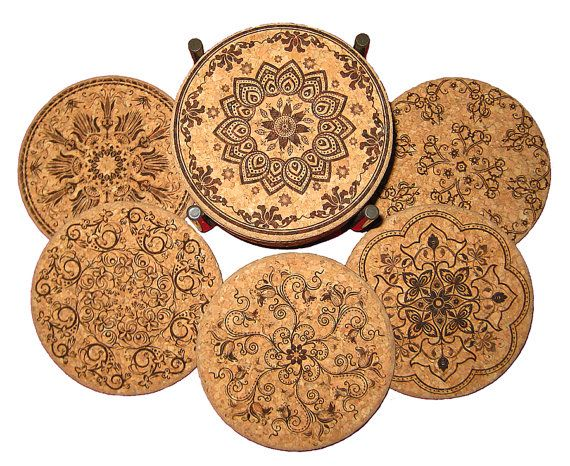 Antique Design Laser Etched Cork Coaster Set By Laserscribeit 26 00 Laser Engraving Cork Coasters Antiques