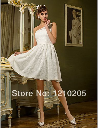5c055578aaf84 Free Shipping Reception A-line One Shoulder Knee-length Lace And ...