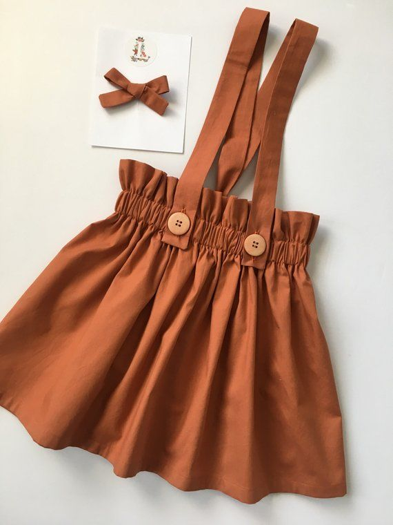 Girls Rust Suspender Skirt, Toddler Vintage Style Jumper, Girls Spring Skirt with Straps, School Girl Jumper, High Waist, Brick, Summer