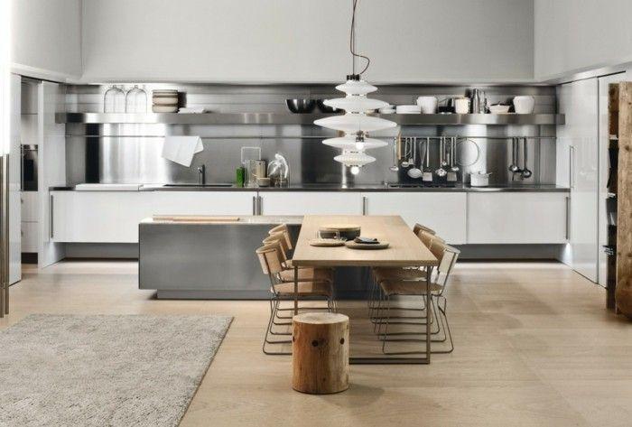 Küchenrückwand Aus Metall, Esstisch Aus Massivholz, Stamm Hocker