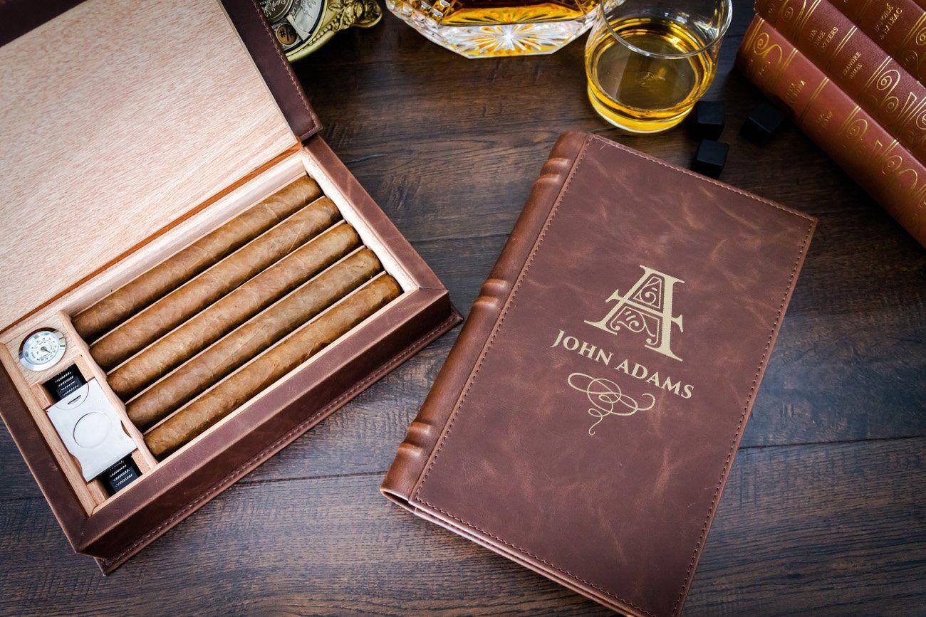 Custom engraved cigar humidor book shape travel cigar