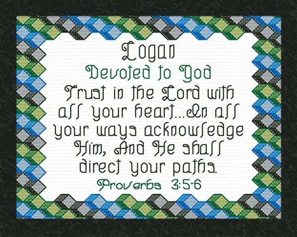 Logan - Name Blessings Personalized Cross Stitch Design ...