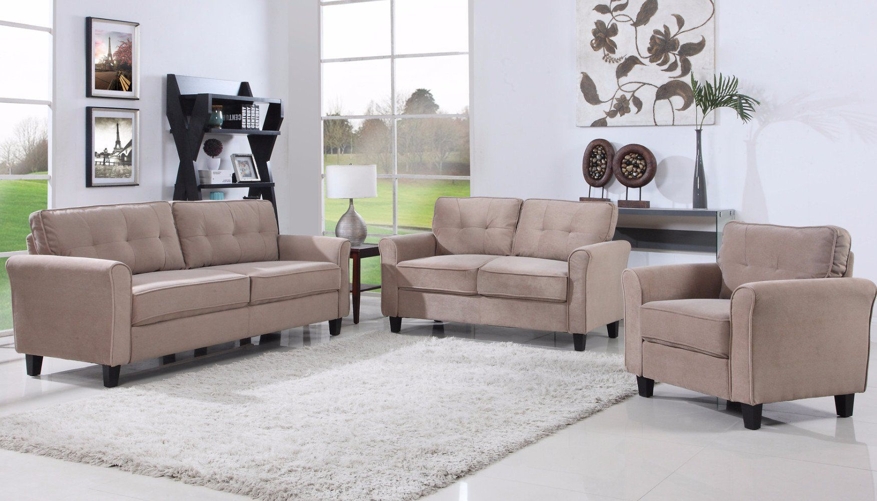 Agnes Classic Microfiber Living Room Set