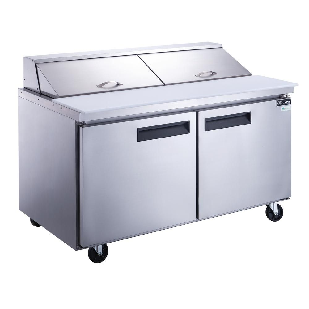 Dukers 60 In W 14 3 Cu Ft 2 Door Commercial Food Prep Table Refrigerator In Stainless Steel Dsp60 16 S2 Undercounter Refrigerator Commercial Refrigerators Locker Storage