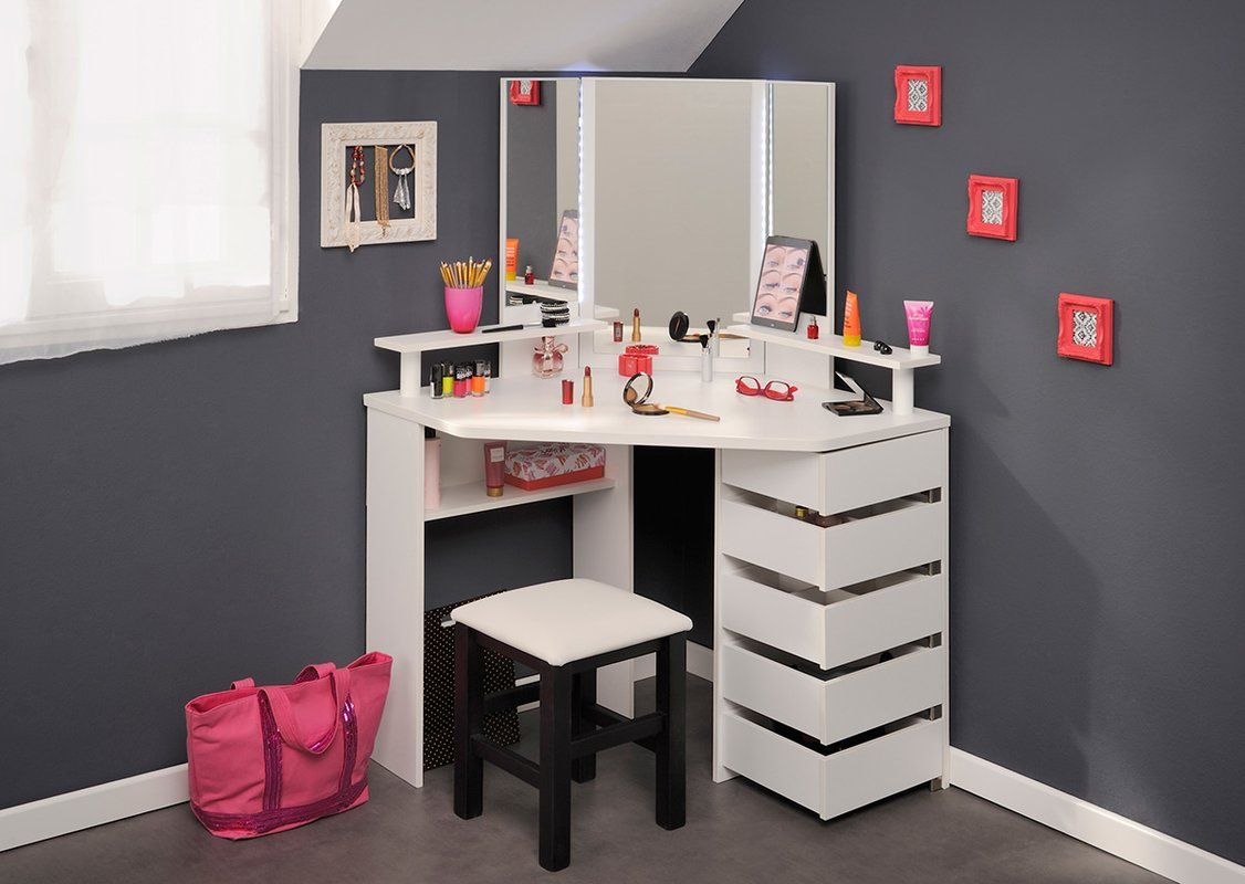 Diop Makeup Vanity With Mirror Corner Dressing Table Dressing Table Design Bedroom Vanity
