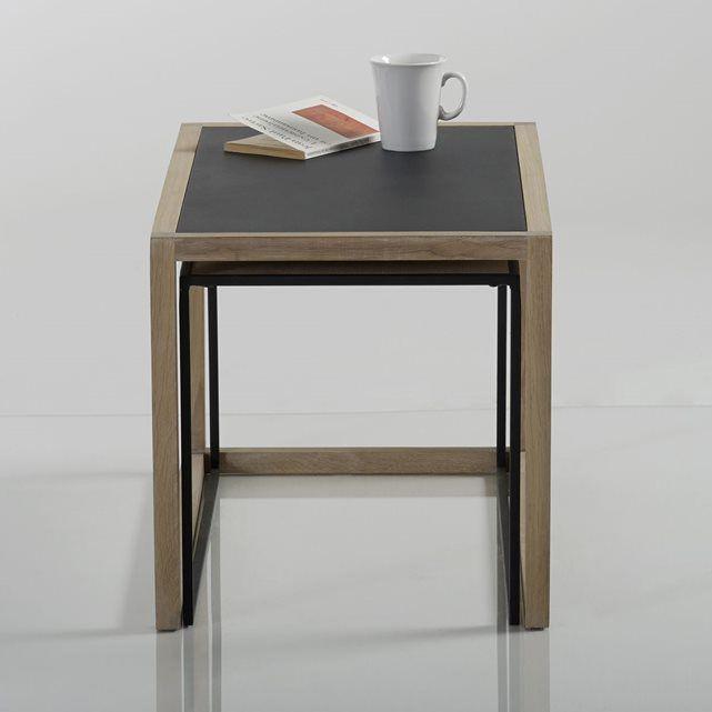 Tables basses gigognes, chêne massif et acier, Lur La Redoute Interieurs