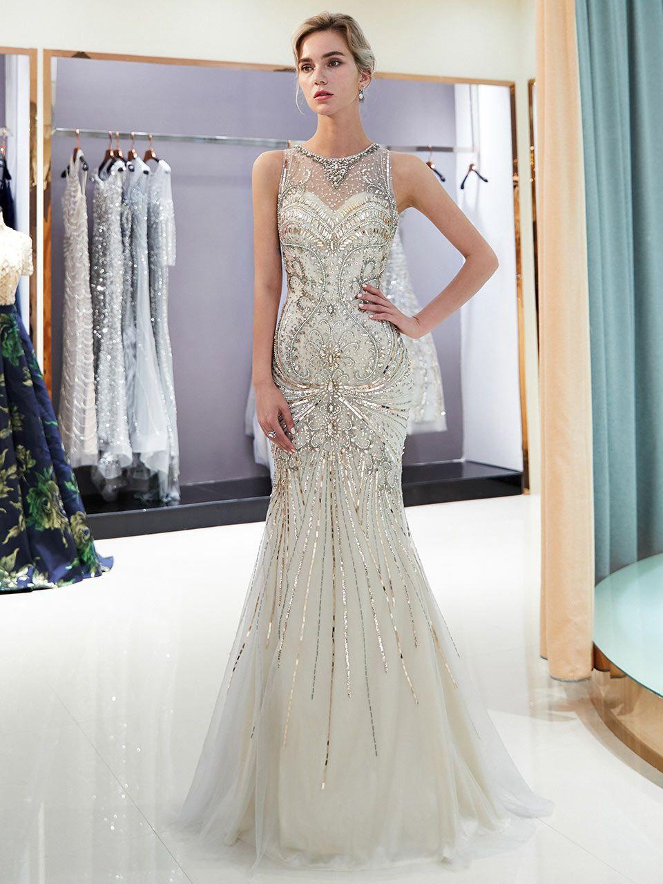 Grey mermaid wedding dress  mermaid prom dressesbeaded prom dressesgrey prom dressesmermaid