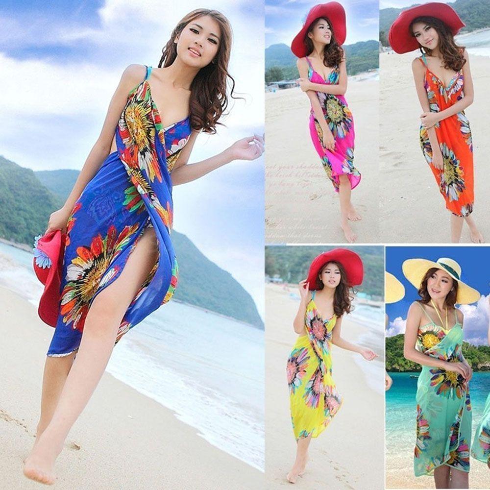 86e31cf28c Beach Shawl Deep V Wrap Cover Up Sarong Bikini Beach Dress Chiffon Swimwear