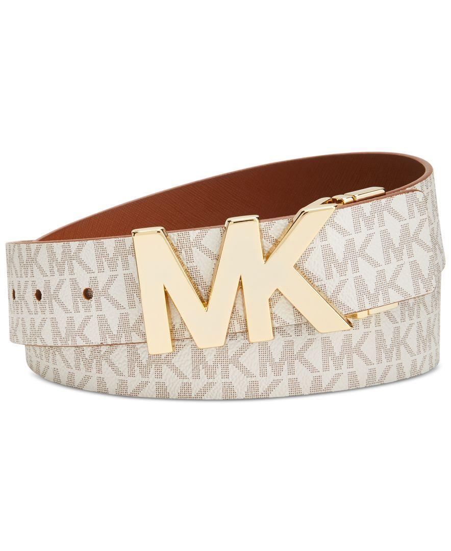 49738e94bdba3 Michael Michael Kors Reversible Mk Signature Plaque Belt