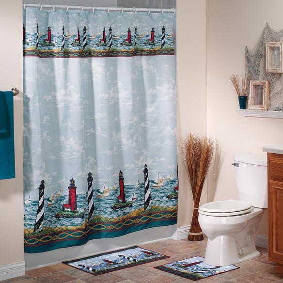 lighthouse bathroom decor lighthouse shower curtain and bath mats bath accessories home