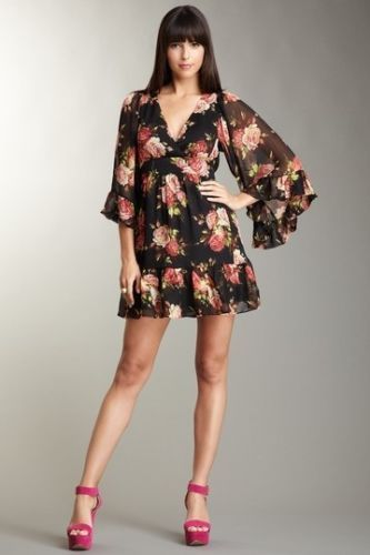 b51561cc35 Nwt betsey johnson floral rose bambi boho bell sleeve dress 6 only ...