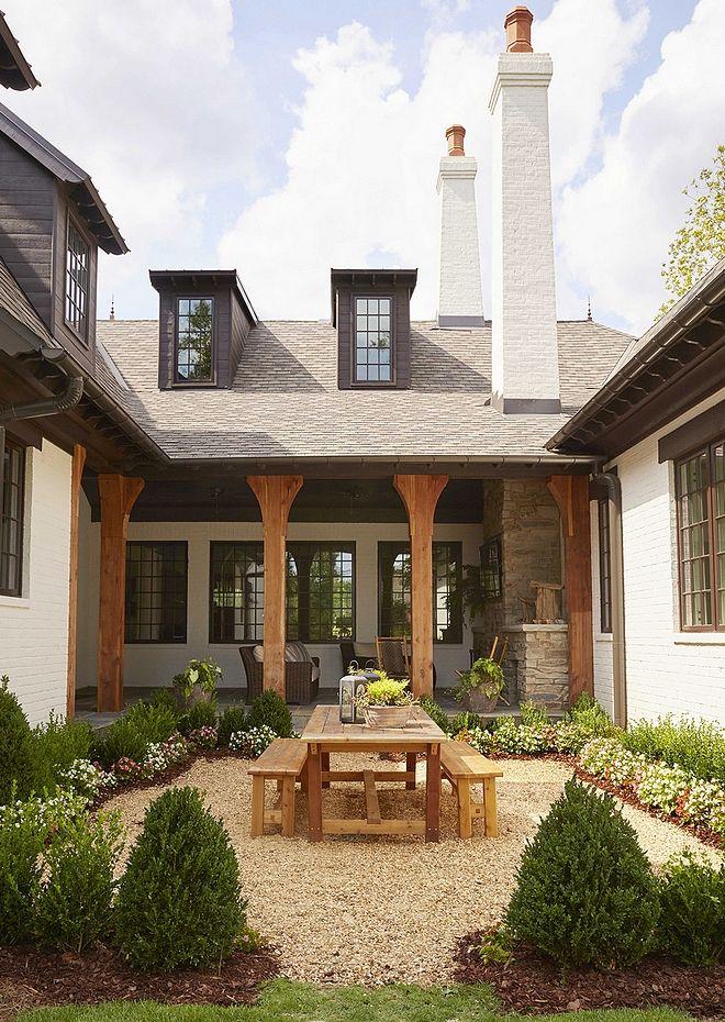 "Backyard courtyard private backyard ideas The ""U"" shape of the house ..."