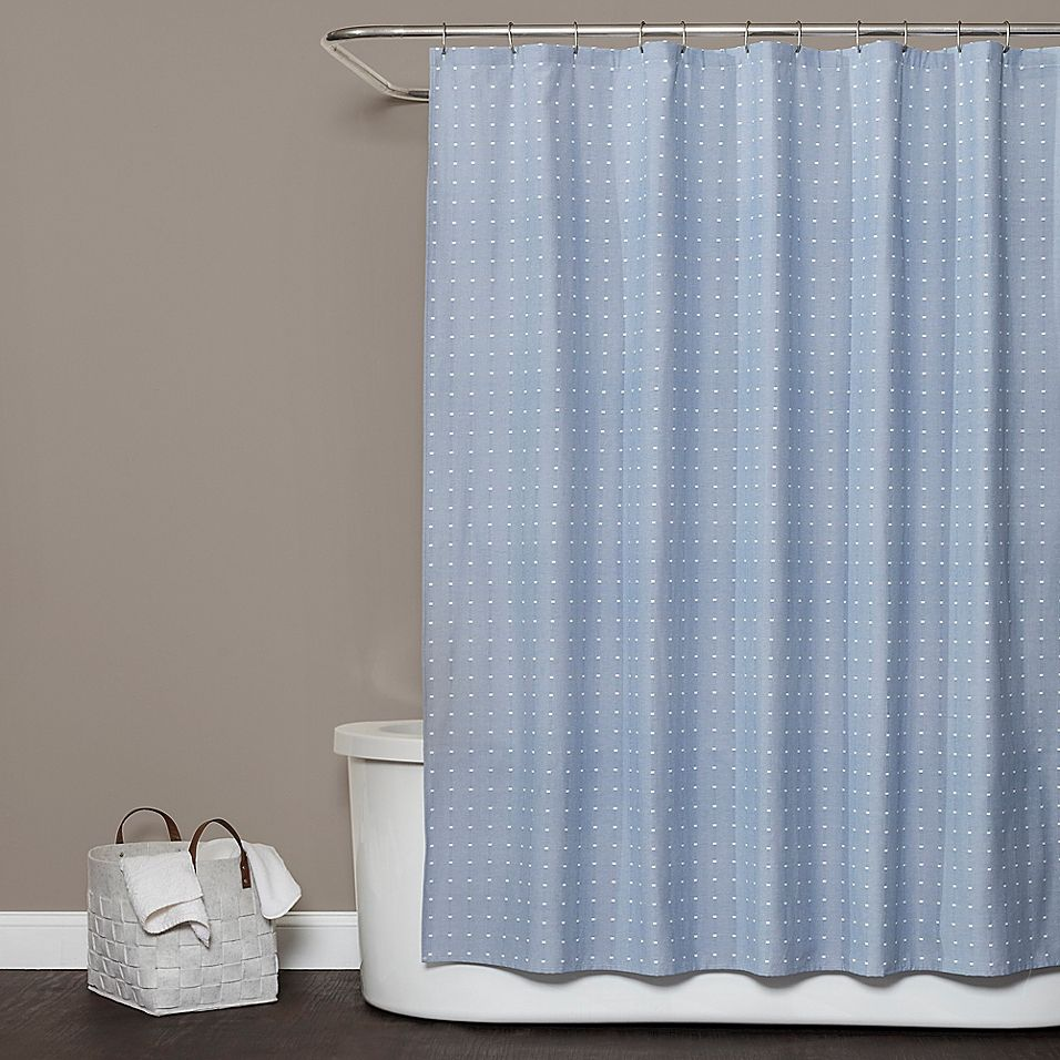 Saturday Knight Chambray Squares Shower Curtain In Blue Curtains Bathroom Colors Shower