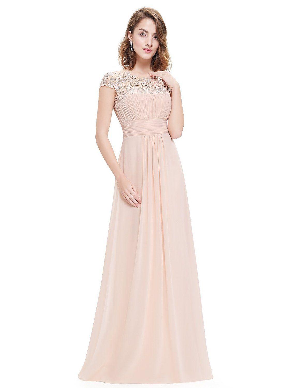 Ever Pretty Damen Lace Rueckseite Offen Kurzarme Chiffon Lange Abendkleider  36 Karollerot EP09993BH04