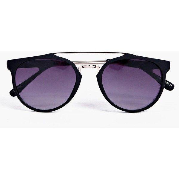 4b7c7caeb31cf Boohoo Ava Matt Black Metal Arm Aviator Sunglasses ( 10) ❤ liked on  Polyvore featuring accessories