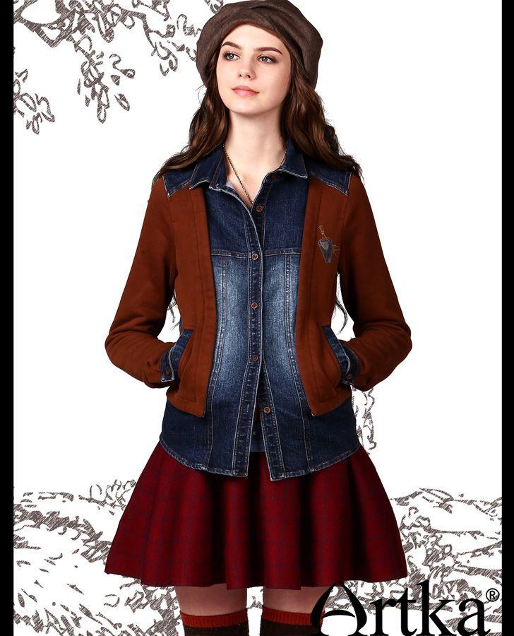 Жакеты, пиджаки : Джинсовый пиджак с тканевыми вставками на пуговицах