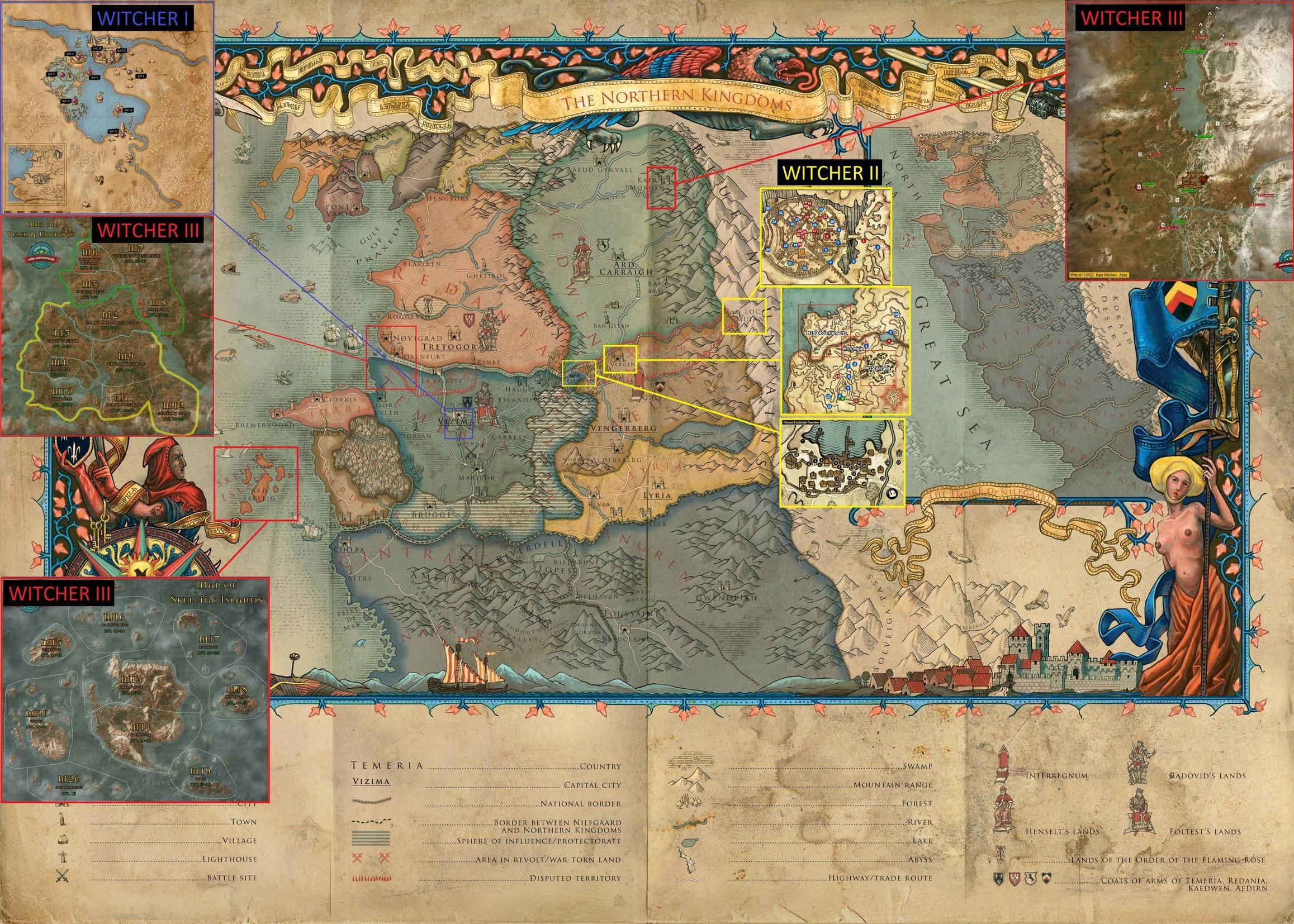 Witcher Map with locations of all three games. #TheWitcher3 #PS4 ...
