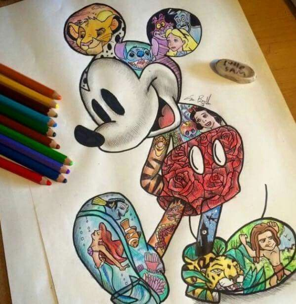 Disney collage (With images) | Mickey mouse drawings, Disney art ...