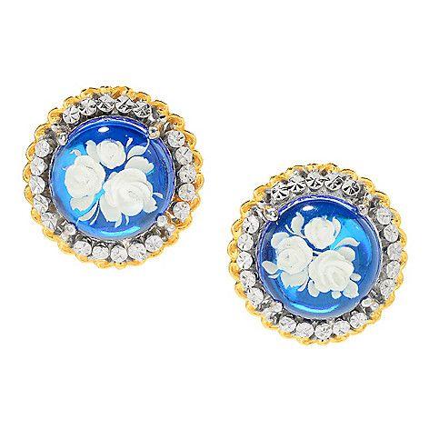 161-246 - Gems en Vogue 12mm Blue Amber Carved Flower Intaglio Stud Earrings