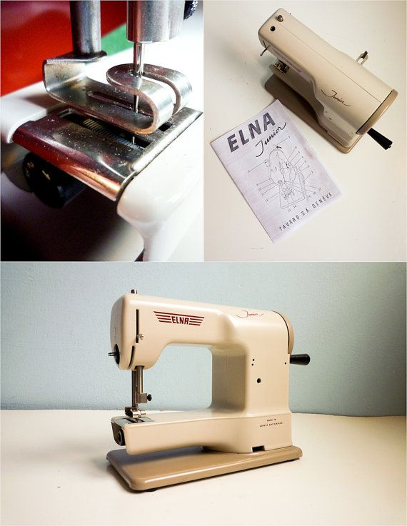 Vintage Swiss Made White Sewing Machine From The 40s Elna Junior Extraordinary Elna Junior Sewing Machine
