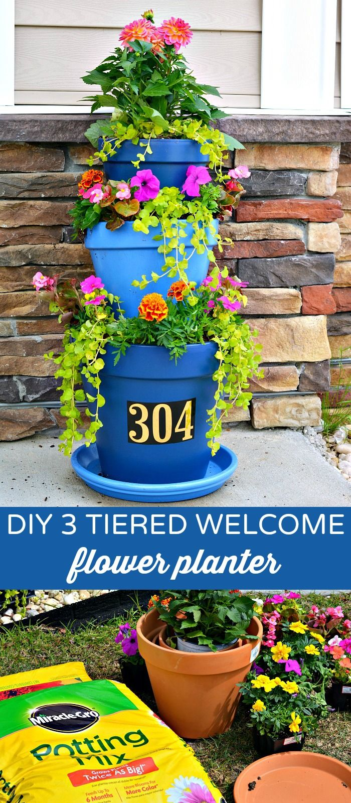 DIY 3 Tiered Flower Pot Planter-this with a verse instead of address would be cute & DIY 3 Tiered Flower Pot Planter-this with a verse instead of address ...