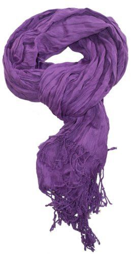 """LibbySue purple 5'6"""" long & 20"""" wide polyester crinkle scarf with 4"""" fringe"""