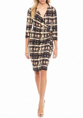 Anne Klein Saddle Combo Printed Faux Wrap Dress