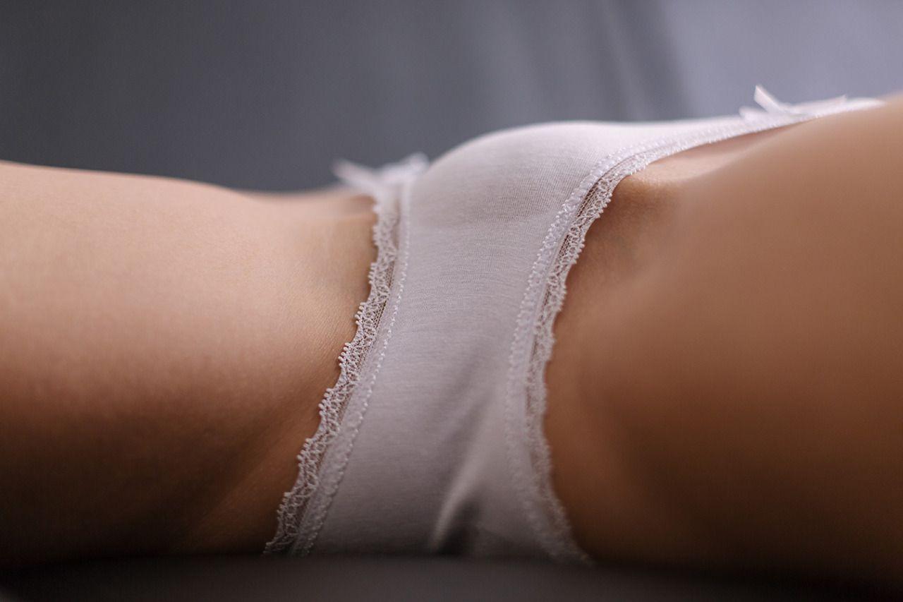 Tiny white cotton panties pussy