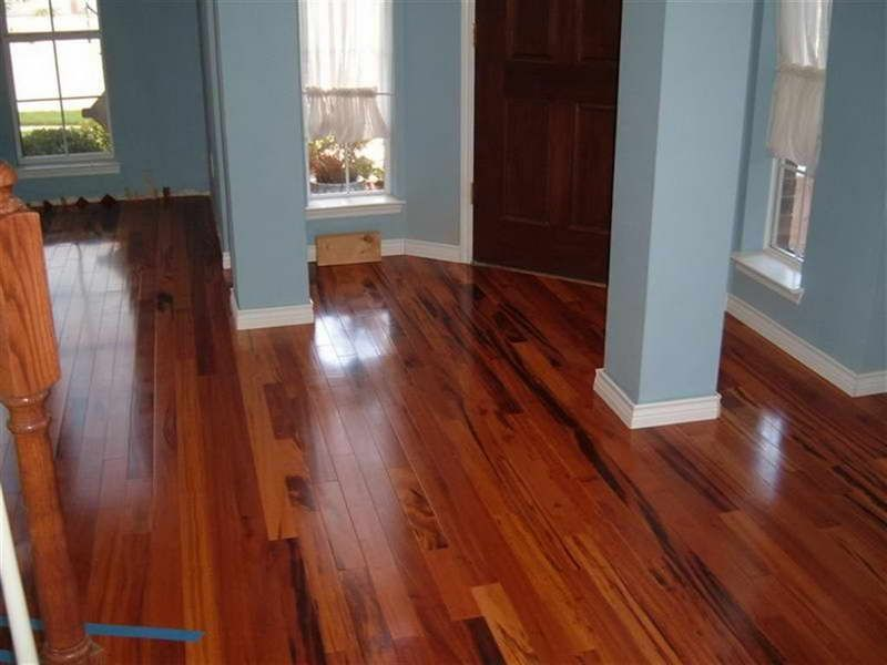 Brazilian Koa Flooring With Blue Wall Mom Dad S Kitchen