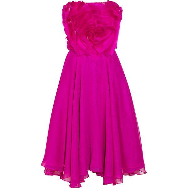 Badgley Mischka Couture embellished silk-chiffon and organza dress