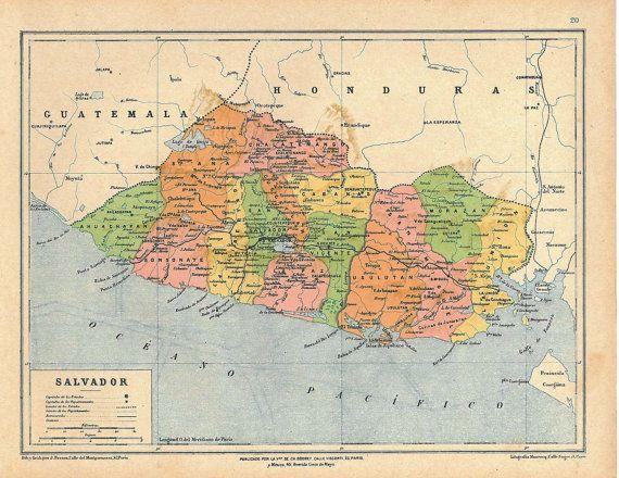 1929 Vintage Map of El Salvador Large Map El salvador Salvador