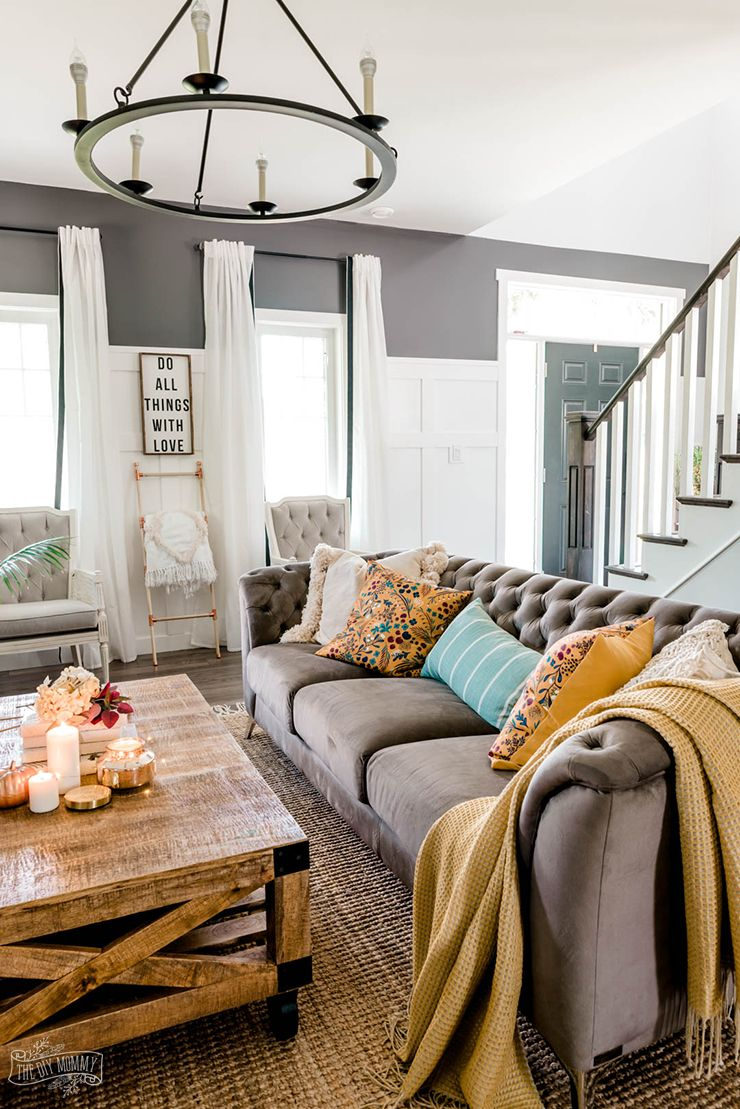 our cozy fall living room with simple mantel decor  dark