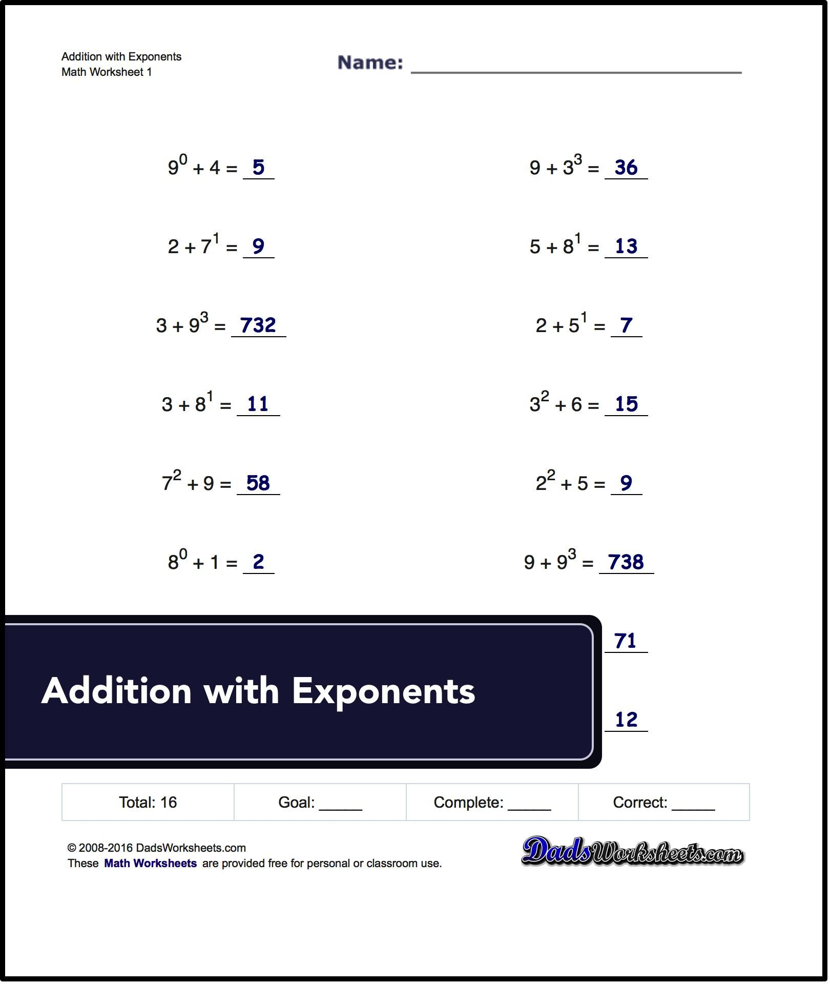 Adding Exponents Worksheets Including Simple Problems