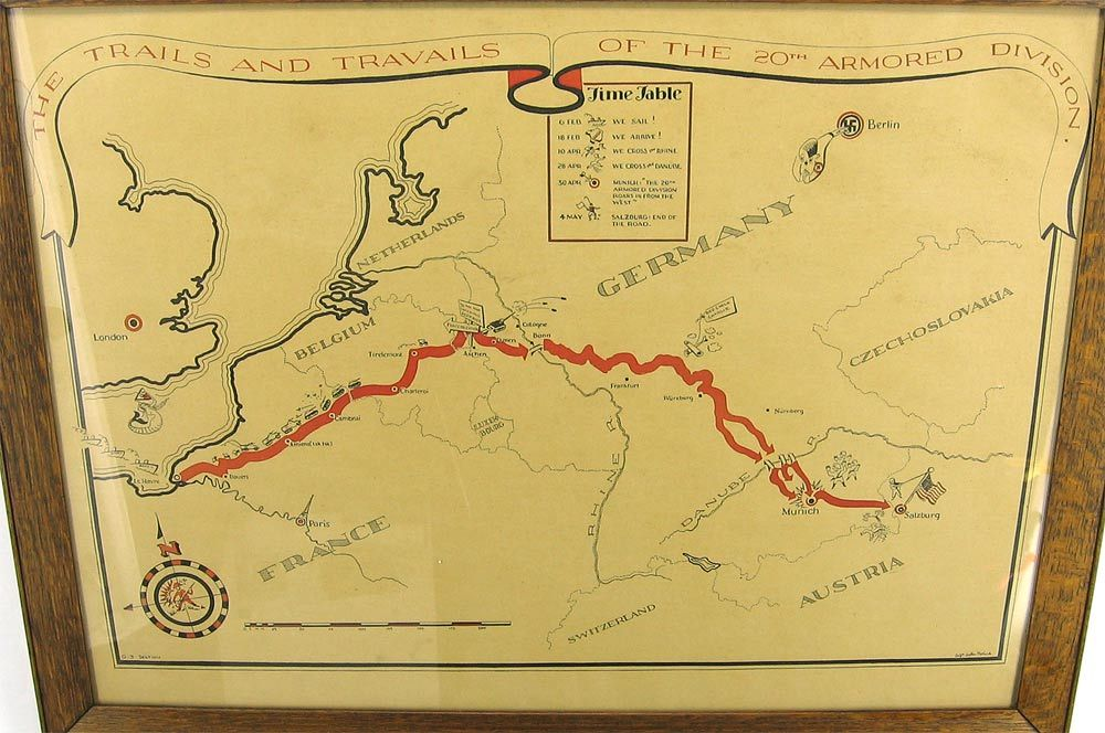 20th Armored Division of the US Army route and campaign map of World - fresh germany map after world war 1