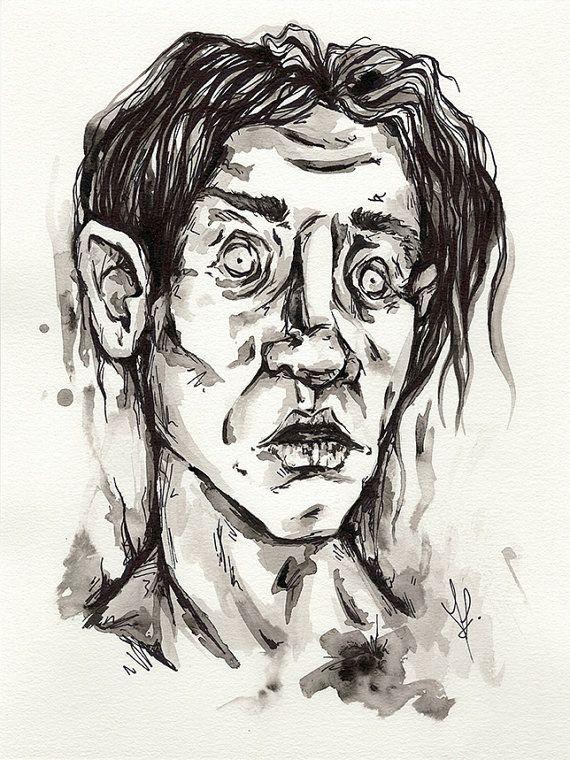 ORIGINAL Trauma / dark weird ink painting / 9 x 12 by DreamySoul