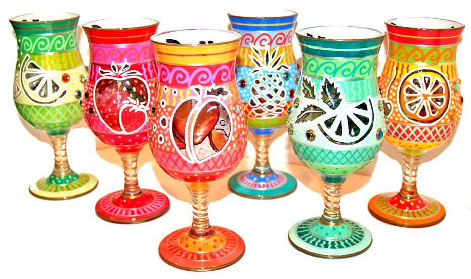 Hand Painted Summer Fruit designed Glassware by Adrian Villanueva #Glassware #Bright #Summer #Fun
