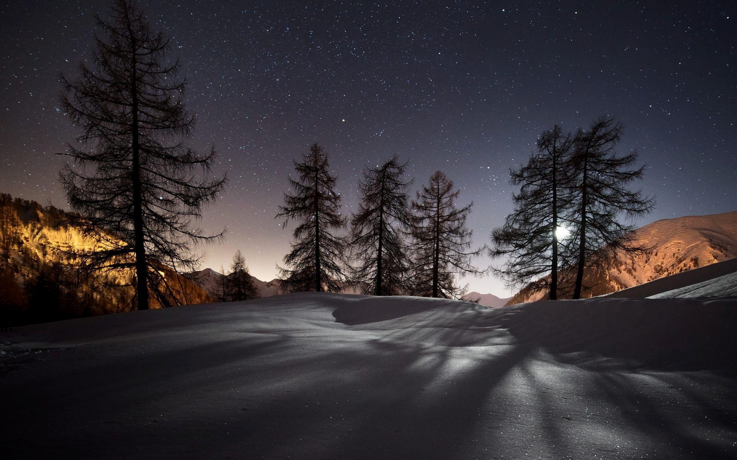 Winter Night Hd Desktop Wallpaper High Definition Fullscreen Night Landscape Winter Wallpaper Hd Winter Wallpaper