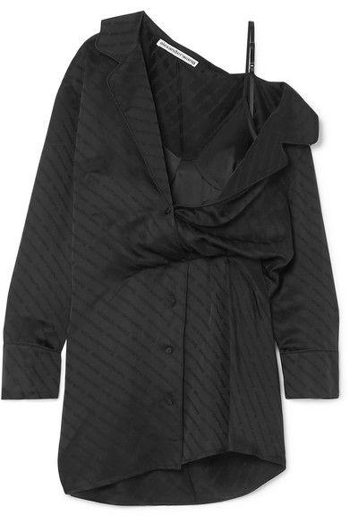Draped lace-trimmed silk-blend and satin-jacquard mini dress